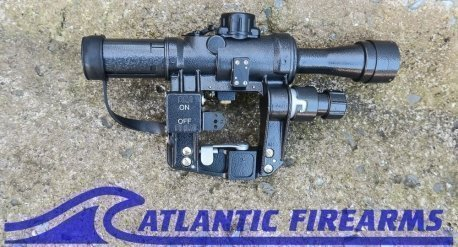 Russian PO 4x24 Rifle Scope, 400m illuminated rangefinder reticle