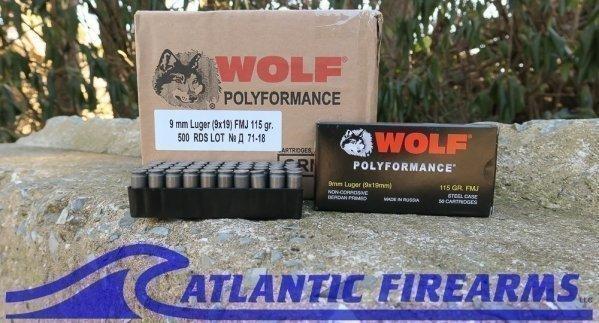Wolf Ammunition 9mm 500 Round Case-Polyformance